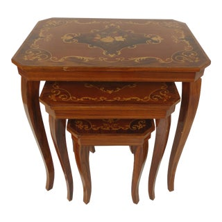 Italian Nesting Tables w/ Marquetry- Set of 3