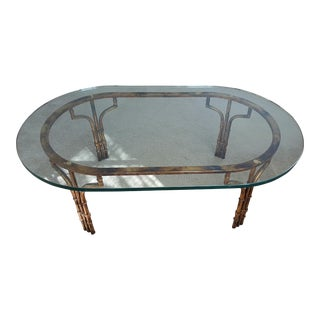 Glass Top Gold Faux Bamboo Coffee Table