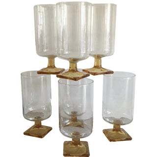 Mid-Century Amber Stem Glasses - Set of 7