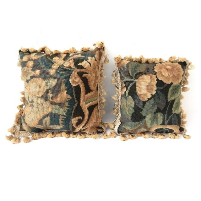French Square Verdure Petit Point Pillows - a Pair - Image 3 of 8