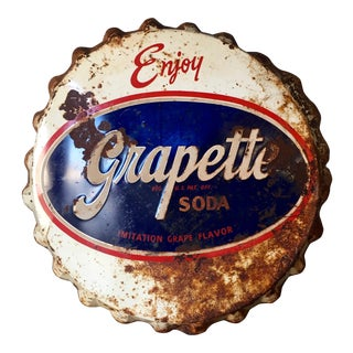 Vintage Original Grapette Soda Bottle Cap Sign