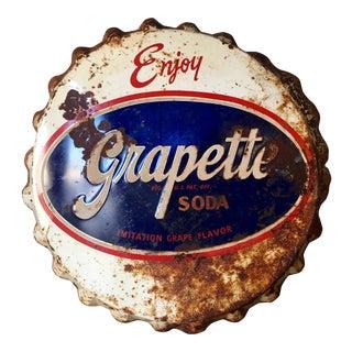Vintage Original Grapette Soda Bottle Cap Sign
