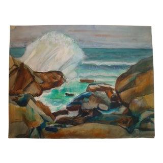 Midcentury Ocean Surf Watercolor Painting, James Bonelli