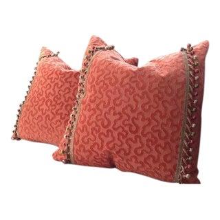 """Schumacher """"Vermicelli"""" Velvet Pillow Covers - a Pair"""