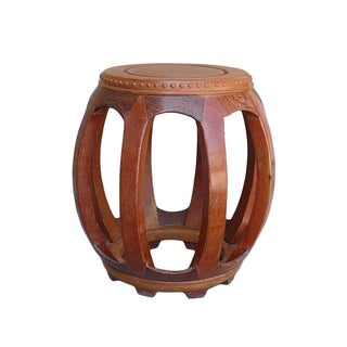 Chinese Solid Wood Huali Barrel Round Stool