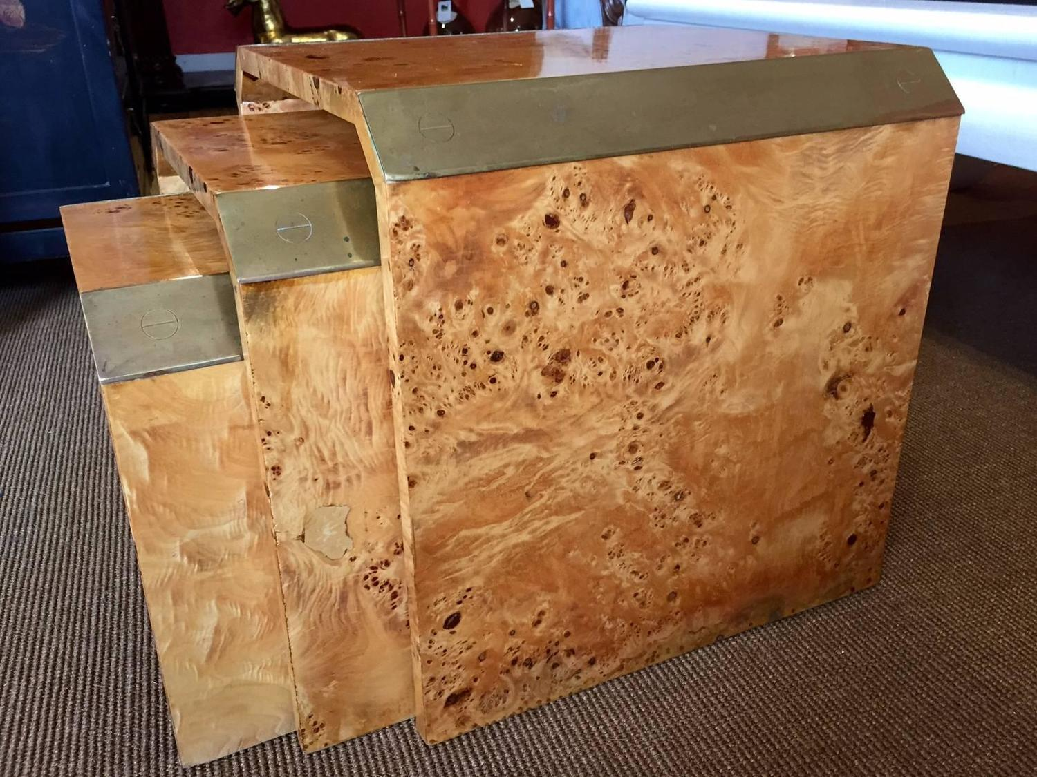 Burl Wood Waterfall Nesting Tables   Set Of 3   Image 4 Of 5