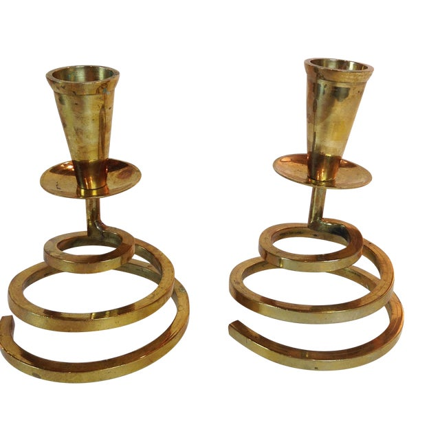 Brass Coil Candlesticks - A Pair - Image 1 of 6