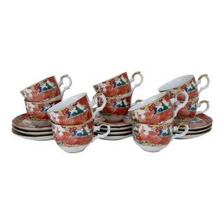 Japanese Porcelain Tea Cups & Saucers - 20 Pieces