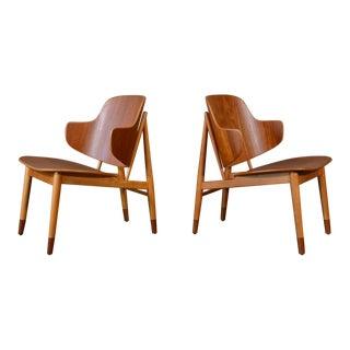 Kofod Larsen Teak Shell Lounge Chairs - A Pair