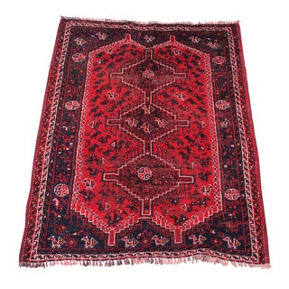 Semi-Antique Hand Knotted Persian Shiraz Rug - 4′2″ × 5′8″