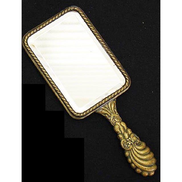 Image of French Brass Vanity Hand Mirror
