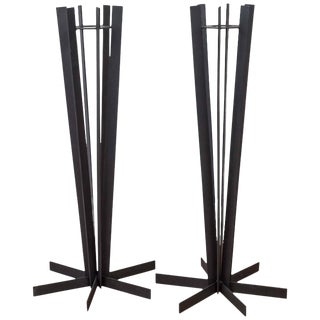 Pair Of Sculptural and Tall Wrought Iron Plant Stands