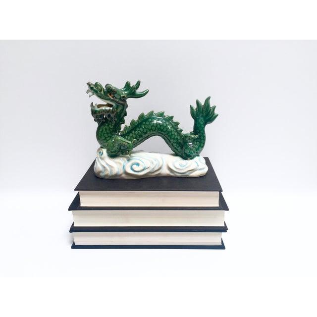 Image of Vintage Hand Painted Ceramic Green Dragon Figurine