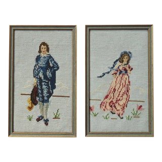 Needlepoint Blue Boy & Pinkie - A Pair