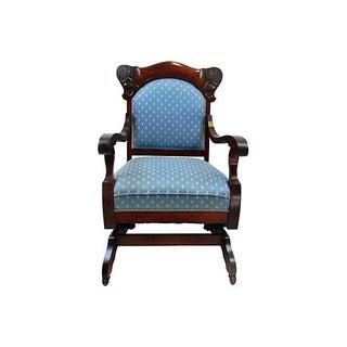Antique Mahogany Blue Rocker Chair