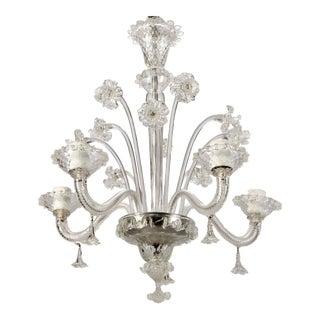 Venetian Clear Glass Four Light Daffodil Chandelier