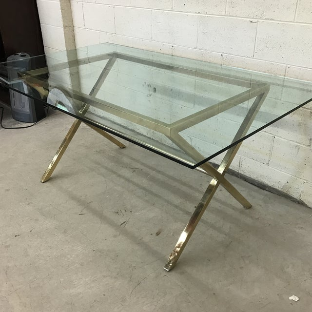 Contemporary Brass & Glass Dining Desk Table - Image 3 of 11