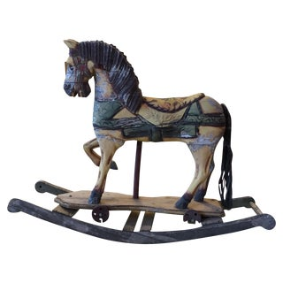 Antique Hand-Carved Artisanal Wood Rocking Horse