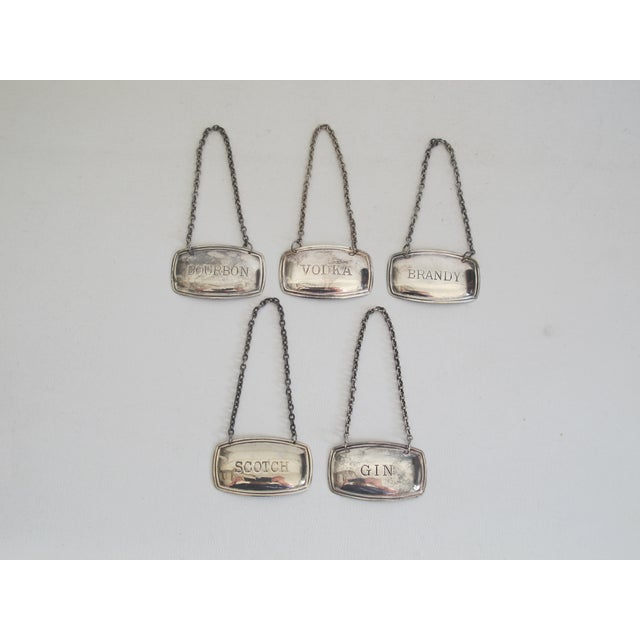 Image of Silverplated Liquor Labels - Set of 5