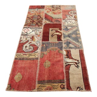 Turkish Vintage Patchwork Oushak Rug - 3′1″ × 6′