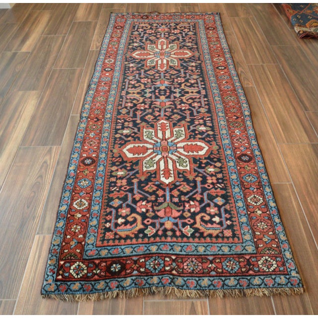Antique Persian Heriz Karajeh Runner- 3′6″ × 8′10″ - Image 3 of 11