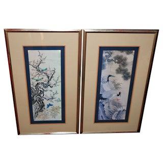 Vintage Asian Fine Art Prints with Cranes - A Pair