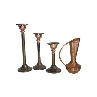 Pewter Candleholders & Copper Vase - Set of 4