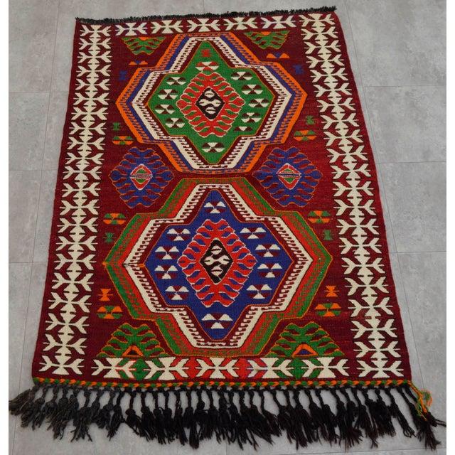 "Turkish Handmade Tribal Kilim Rug - 3'1"" X 4'"
