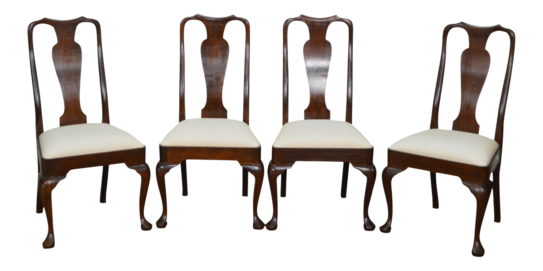 Stickley Solid Mahogany Set Of 4 Queen Anne Dining Chairs