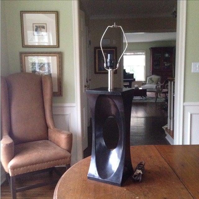 Mid-Century Modern Style Black & Chrome Lamp - Image 3 of 9