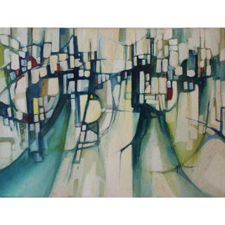"""Cityscape in Green"" Original Watercolor Painting"