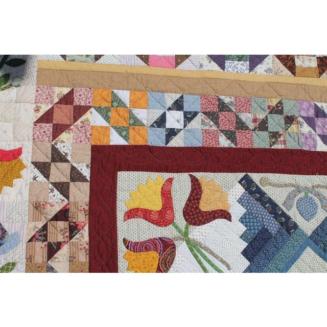 20th Century Amazing Center Star Medallion Quilt - Image 6 of 7