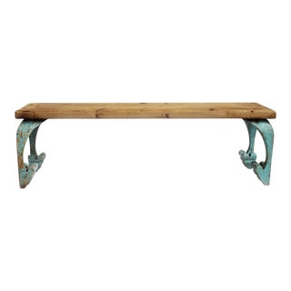 Reclaimed Wood Carved Leg Bench
