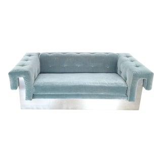 Milo Baughman Art Deco Mohair-Tuxedo Sofa