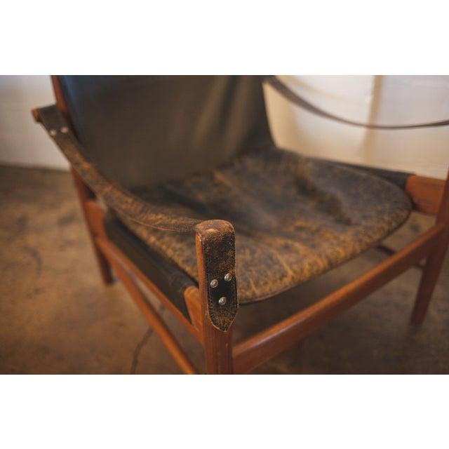 Image of Hans Olsen Black Leather & Wood Safari Chair