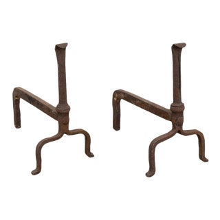 Very Old Handforged Iron Arts & Crafts Andirons
