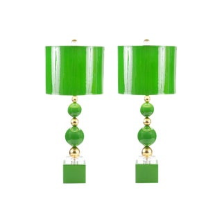 Kelly Green Couture Sheridan Lamps - a Pair