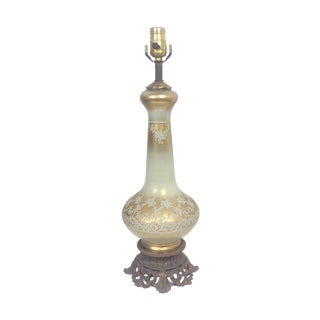 Gilded Regency French Glass Table Lamp