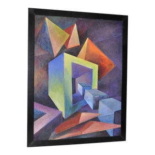 Giuseppe Napoli Mid Century Geometric Abstract Painting c.1950s
