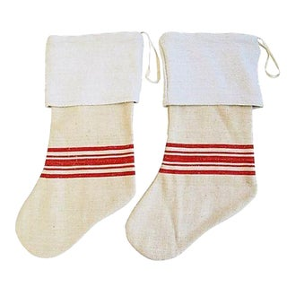 Custom French Textile Christmas Stockings - A Pair