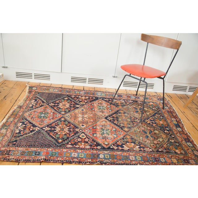 """Antique Distressed Afshar Square Rug - 4'4"""" X 5'7"""" - Image 3 of 9"""