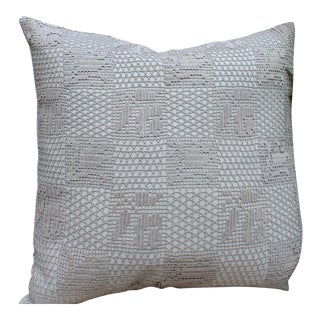 Vintage Crochet Dyed Gray Pillow