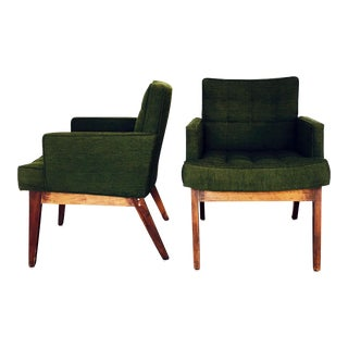 Systron Mid-Century Tufted Green Arm Chairs- A Pair