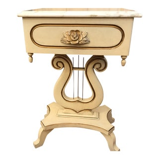 Italian Marble Top Lyre Table