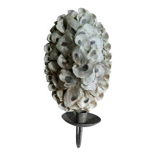 Nautical Beachy Shell Encrusted Candle Wall Sconce
