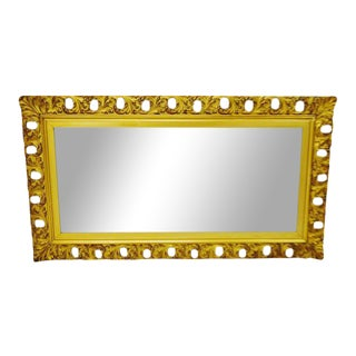 Early French Gilt Gesso Filigree Frame with Beveled Mirror