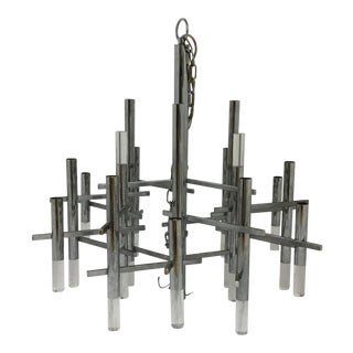 Sciolari Italian Chrome and Lucite Chandelier