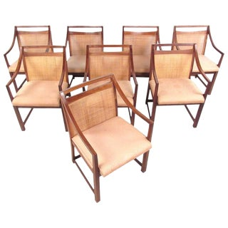 Mid-Century Modern Cane Back Dining Chairs - Set of 8