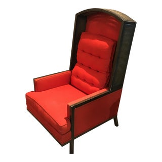 Mid-Century J. R. Strignano Red Cane Canopy Chair