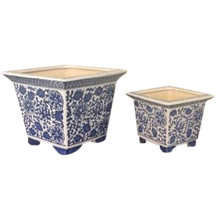 Blue & White Chinoiserie Square Planters - A Pair - Image 1 of 4